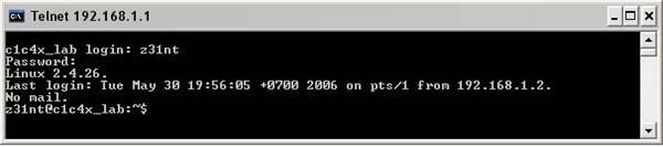 telnet window