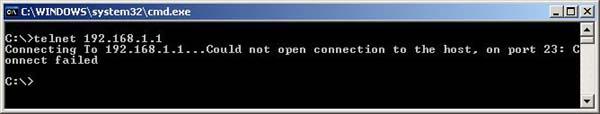 telnet window failed
